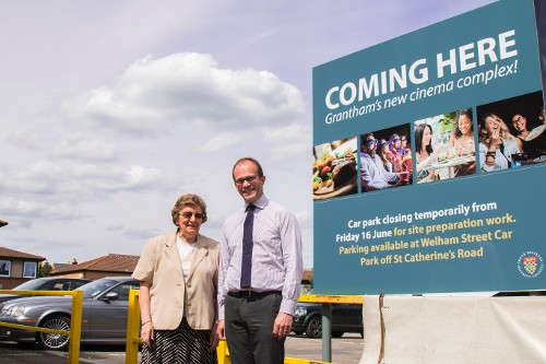 Councillor Jacky Smith, Cabinet Member with responsibility for major development projects on site pictured with Leader of the Council, Councillor Matthew Lee