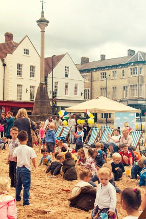 Last year's beach at Grantham market place attracted healthy crowds