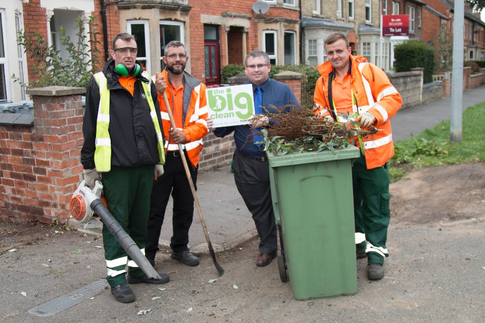 Cllr Adam Stokes joined The Big Clean on Harrowby Road in Grantham
