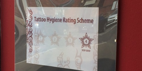 Tattoo Hygiene Rating Scheme certificate