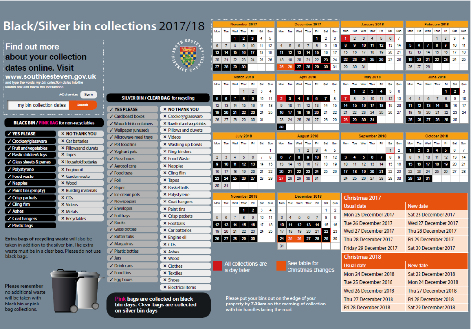 Timetable for the Christmas black and silver bin schedule