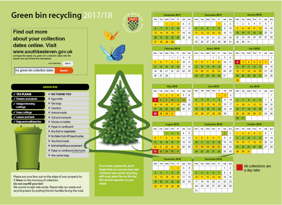 Bin timetable for green bins for Christmas 2017