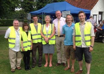 Cllr Dr Peter Moseley and Russ Crictchley with Wyndham Park volunteers