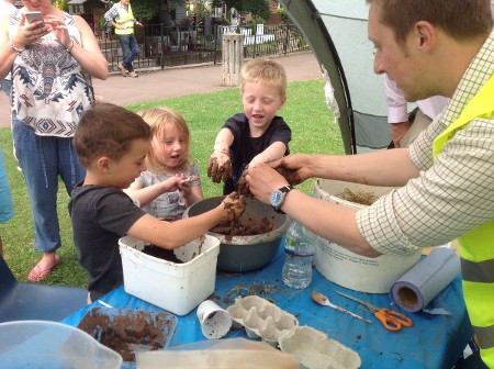 Children got hands on to learn about the conditions wildlife live in locally